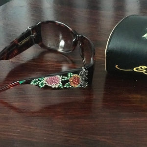 Ed Hardy Crystal Skull Flower Sunglasses and Case